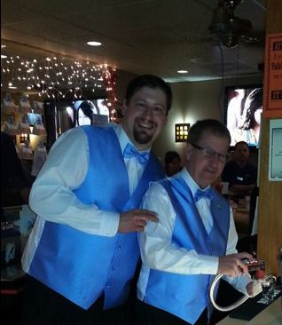 Left to right: ER John Weber and Member Gerry Meyer as the 577 Lodge GUEST BARTENDERS helped raise – along with over 300 Lodge donating members and families and friends of Autism Speaks – $2,360.