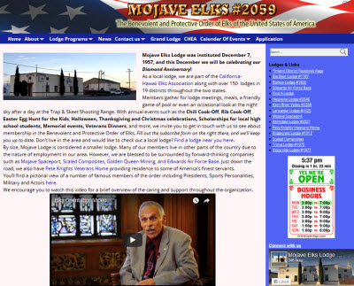 Mojave Elks Lodge Website