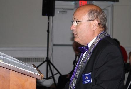 Treasurer Bob Lochner delivers the Response during our Flag Day celebration