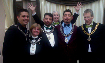 2012-2013 Lodge Officers (L-R): Inner Guard, Jon Rice; Treasurer, Susan Allen; Est. Lecturing Knight, Troy Hamer; Secretary, Teri Mohr; Est. Loyal Knight, Jesse Calixto; Exalted Ruler, C. Kevin Bouffiou