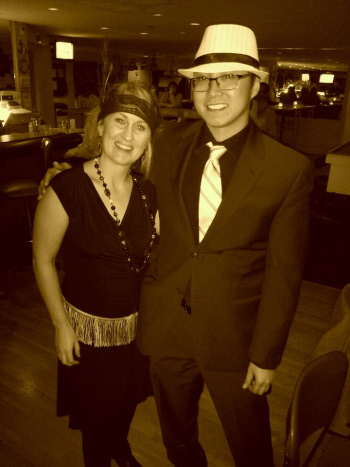 Stephanie & Bryan in theme for the Roaring 20s birthday and benefit party