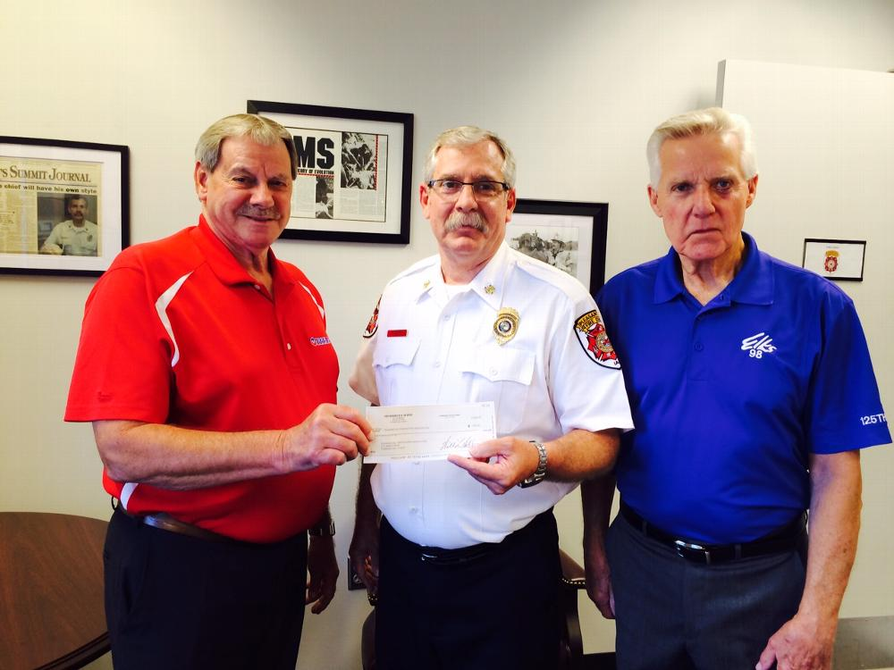 As part of the ENF Gratitude Grant, Elks 98 made a $500 donation to the Pleasant Hill Fire Dept.
