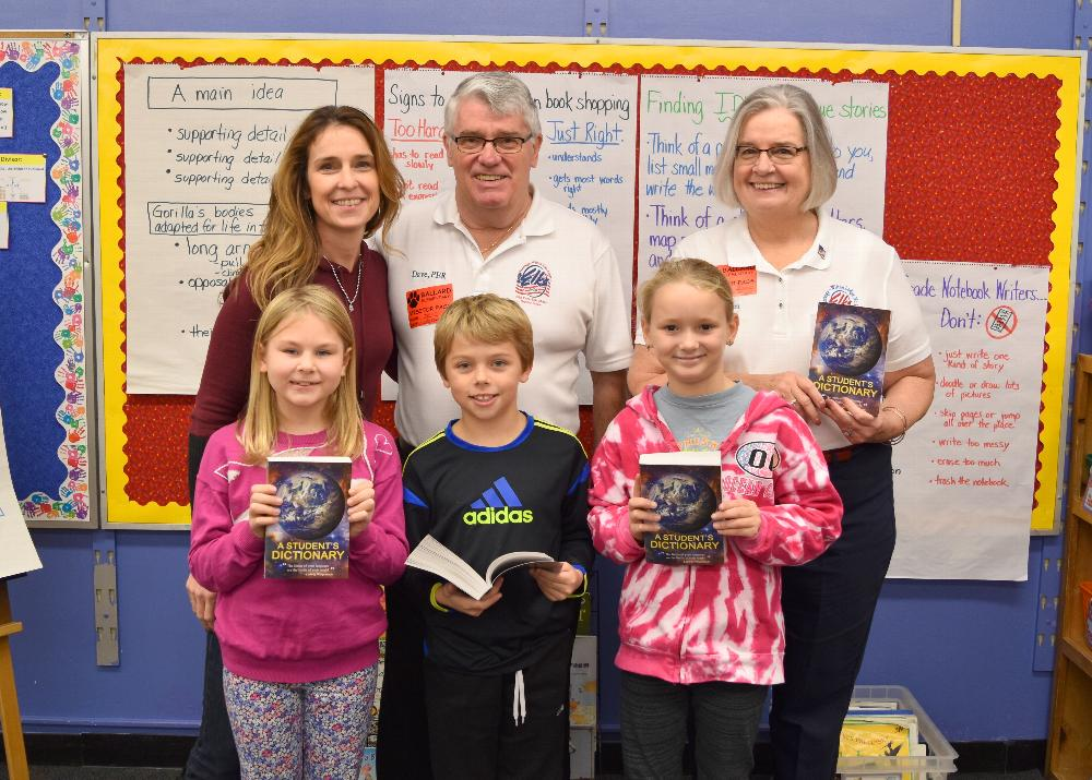 Our Americanism Committee, Susan and Dave Waghorn, passed out dictionaries to the four 3rd Grade Classrooms at Ballard Elementary School in November 2017.