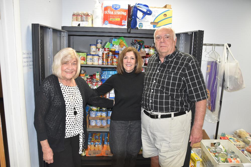 Our Lodge's Food Pantry - Food purchased with funds from our Impact Grant!! ER Gerry Conboy, Betsy Coffey and Ben Buffa