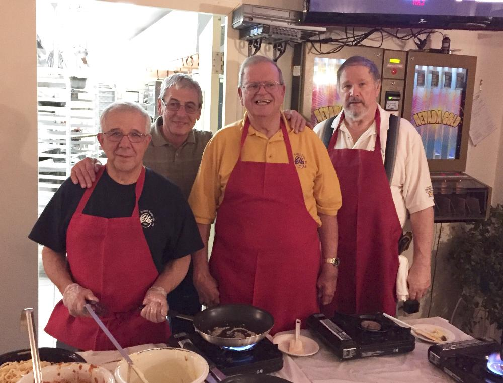 Our volunteers cooking for our Italian Night Fundraiser- Thanks guys!!