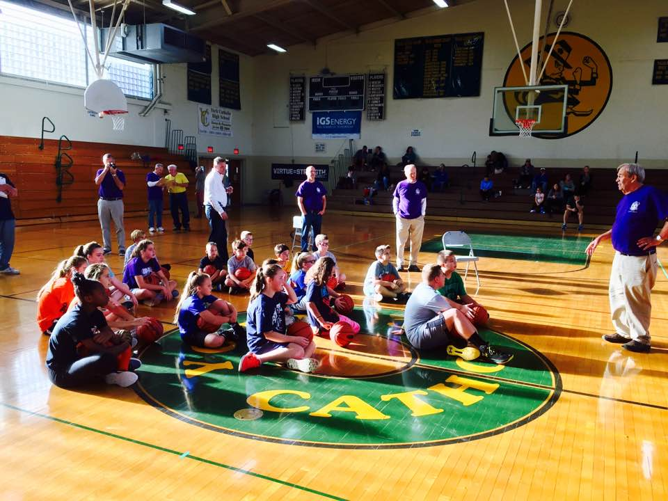 2017 Hoop Shoot participants getting instructions from Phil Shepp