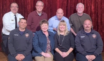 """Froggy For Firefighters"" Benefit Concert 11/18/18 starring Scotty McCreary, Carly Pearce and Kayla Kroh to honor the 35 Firefighters who lost their life in the line of duty over the past 100 years.  The TEAM, shown here includes front row left to right, Shawn Firestone, Bonnie Stiles (York ELK), Jody Kroh, Marc Ott.  Second row left to right Chief David Michaels, Michael Gilmore (York ELK) Co-Chair, Ronald Lewis (York ELK) Founder and Chairman, and Michael Connor (York ELK) Co-Chair.  Not shown Scott Donato, Froggy 107.7"