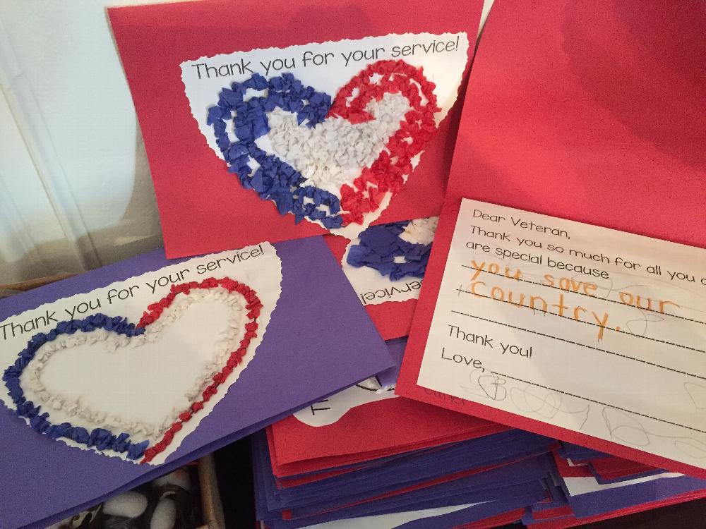 Cards made by a local kindergarten class.  One was given to each Veteran.