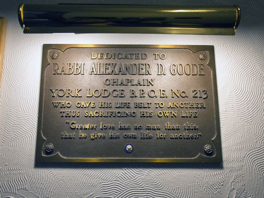 Plaque inside the Lodge in honor of Alexander D. Goode