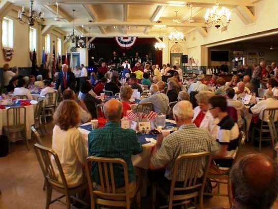 """One of the many special events held for Veterans.  In our own """"USO"""" hall Veterans and their guests are treated to dinner along with dancing and music by The Unforgettable Big Band."""