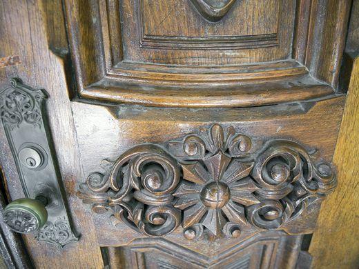 Ornate front door.