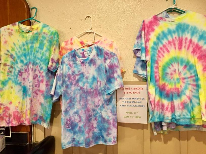 "Members of the York Elks made tie-dyed t-shirts for the 2018 theme ""The Grateful Bed"".  Shirts were sold as a fundraiser."