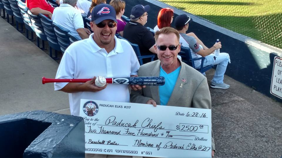 Donation to the Paducah Chiefs, with signed bat and ball. 2016