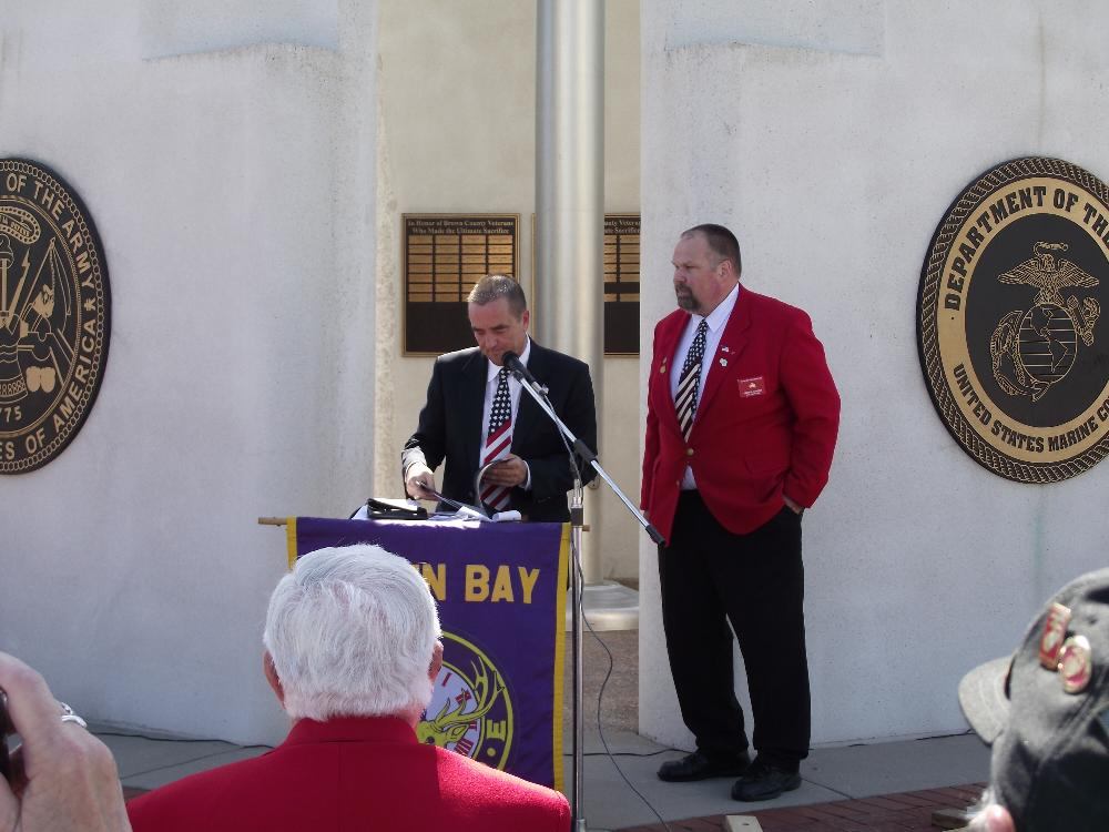 Mayor James Schmitt, Green Bay and George Harper Exalted Ruler Green Bay lodge 259 Flag Day 2014
