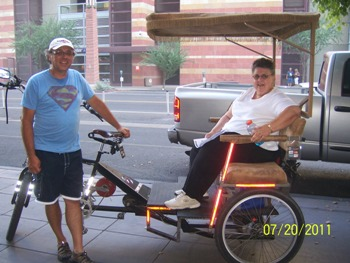 Donna Zimmerman using green transportation to go sightseeing in Phoenix.