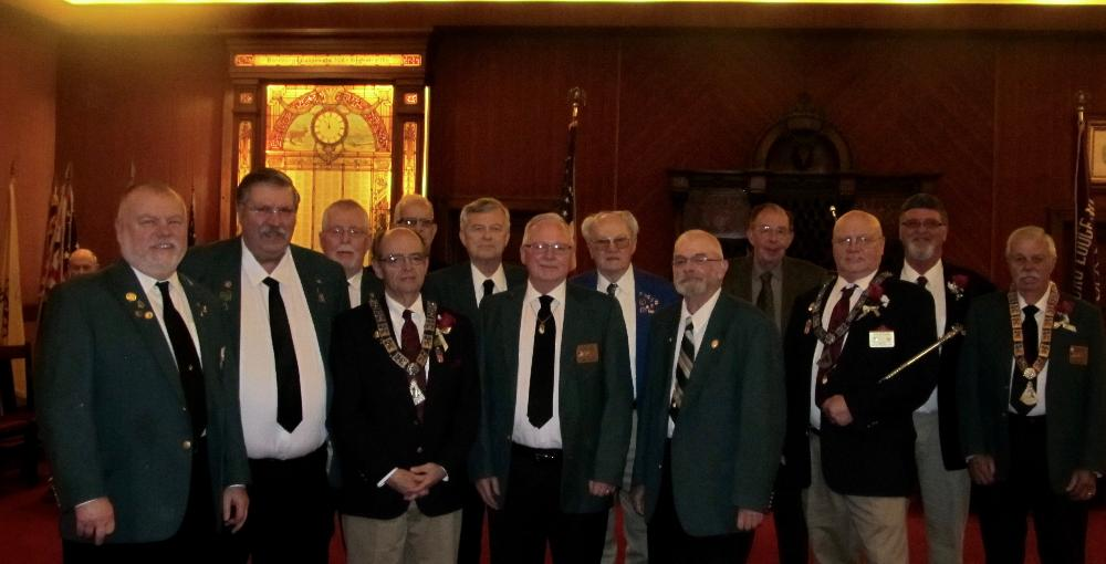 Installing and installed Past Exalted Rulers for the 2017 class of officers.  Pictured l-r:  PDDGER Steve Malone, Todd Lund, Roy Riggs, Chaplain Jim Blasi, Randall Ralls, Gil Smith, Jerry Eifert, Tom Outland, Chuck Kershner, Dr. Larry Durst, Esquire David Malone, Secretary Joel Buoy, and Art Winward.   This the largest gathering of PER's in many a year.