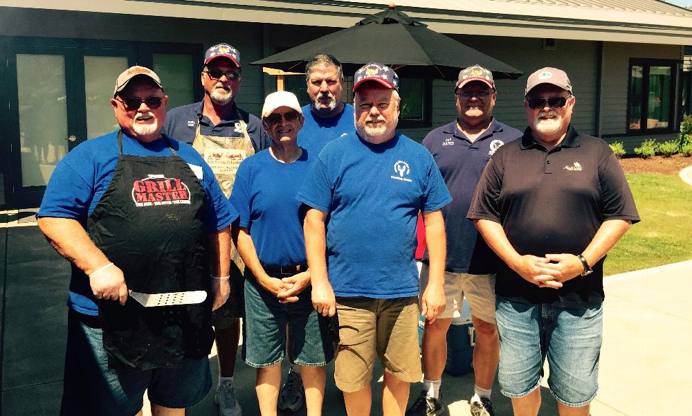 bbq at Roseburg VA hospital  -  pictured l to r  Chaplain Tom Davis, PER Joel Buoy, Leading Knight Jim Blasi, ER Todd Lund, PER Steve Malone, Esquire David Malone, Marc Davis