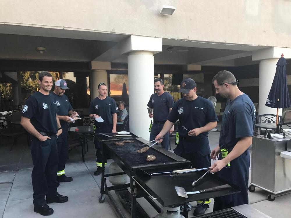Phoenix Fire Station 27 enjoying some time around the grill as your Lodge treated them to a steak dinner to show our appreciation.