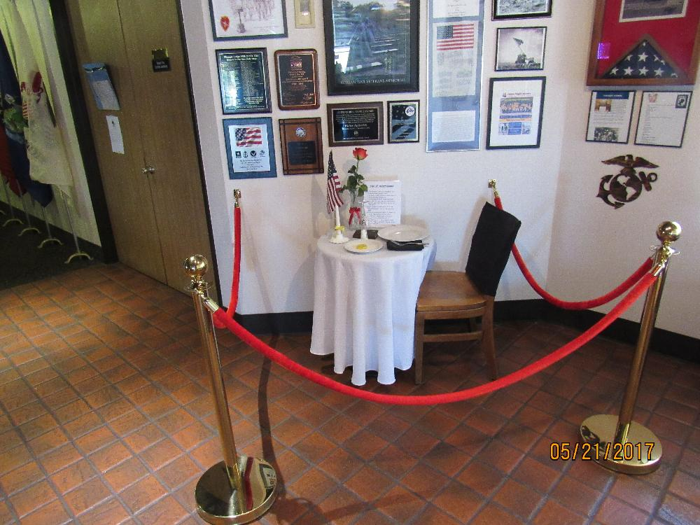 Our Missing Warrior table & Veterans Heritage Corner.