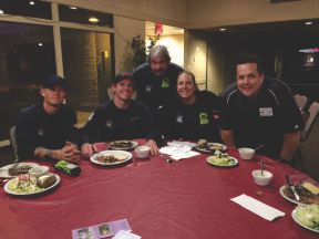 One of our Phoenix Fire Stations 37 enjoying a steak with our Loyal Knight Thom Strupp