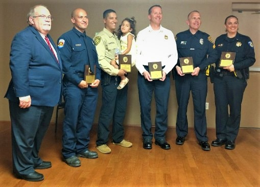 Lodge 385 First Responders 2019 recipients: Left-Joe Riley, Tucson Fire Captain, J. Noriega, Pima Co Sheriff's: J. Quinter/daughter, Northwest Fire D. Bollinger(for J. Clark), Tucson Police S. Payne and U of A Police, C. Spasoff