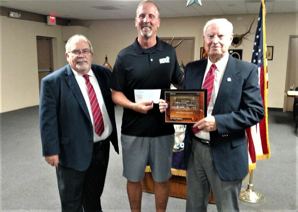 Center, Amphi Basketball Coach B. Hurley receiving donation of $1,000 for Amphi High School summer boys league. ER J. Riely left, and Lodge 385/AEMP Chair Bob Holyoak. September 2019