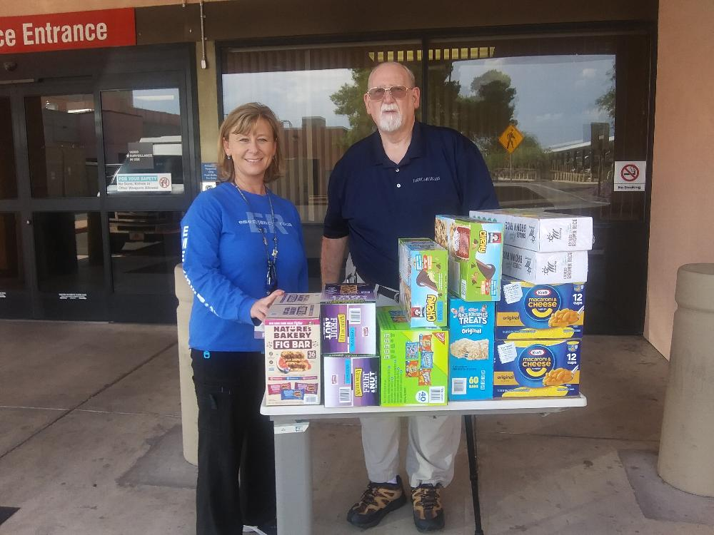 Rebecca Morrison, MSN, BS, RN--Clinical Nurse and Manager of the Emergency Department Southern Arizona (Tucson) VA Health Care System thanking Tucson Lodge 385 PER David Gnuschke for donation of snacks to ER unit. (august 2019)