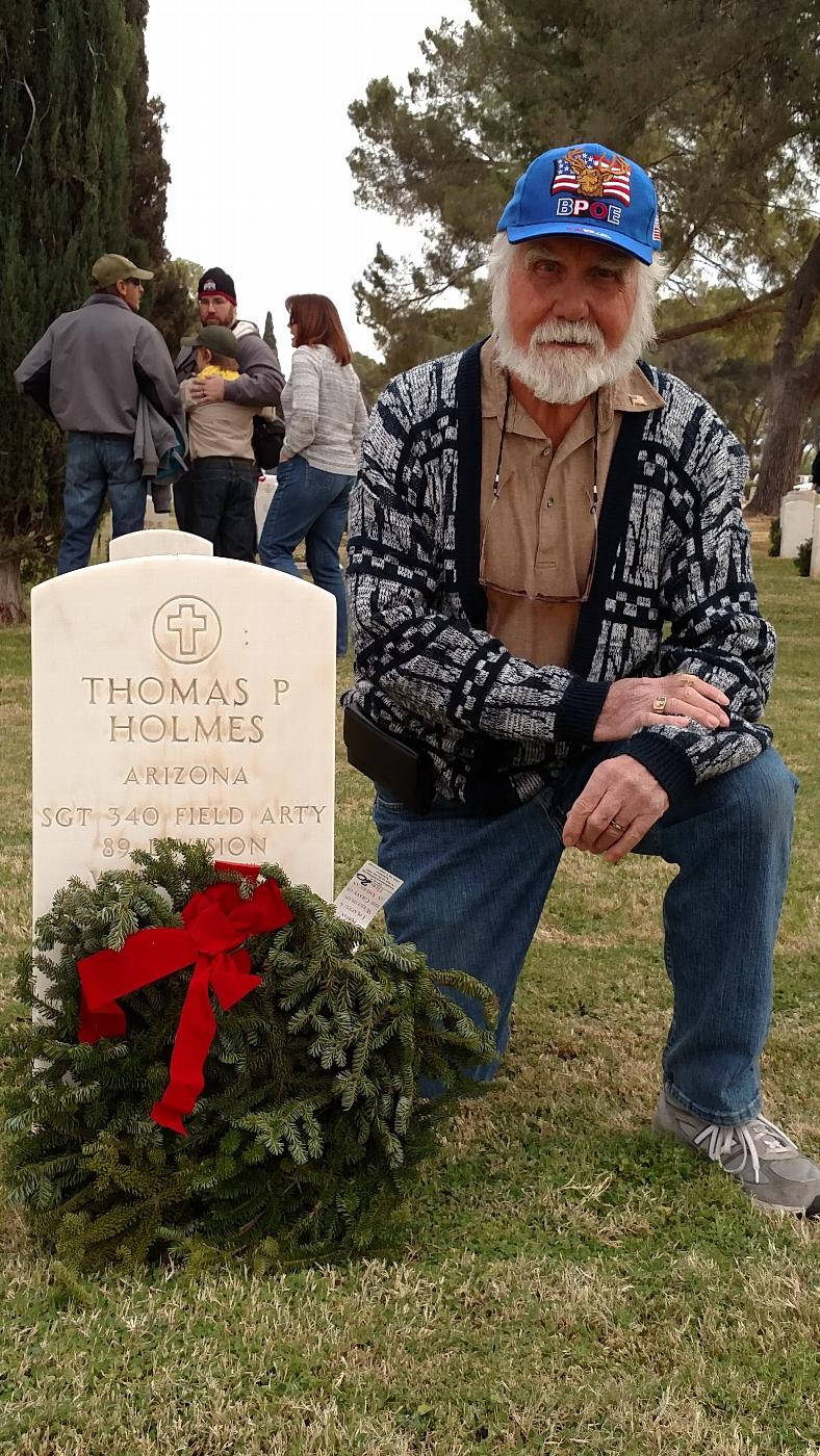 Lodge 385 PER Francis Hydock laying (Wreaths Across America)on the graves of fallen Veterans at the Evergreen Cemetery.