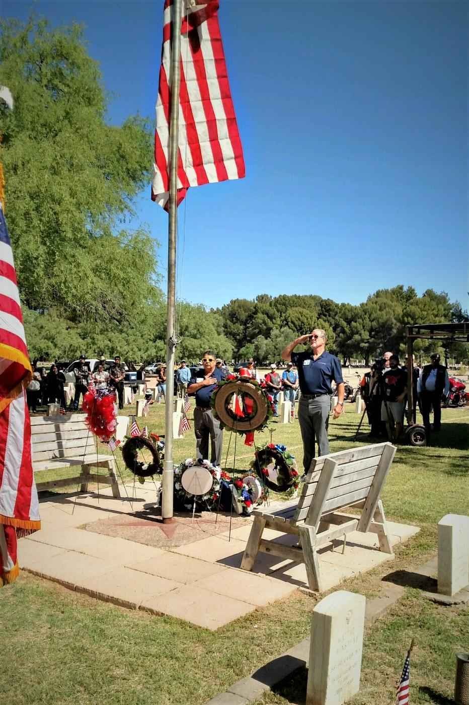 Exalted Ruler Jim Miller and Trustee Abram Lares at 2018 at the Evergreen Cemetery Memorial Day wreath ceremony, Tucson AZ.