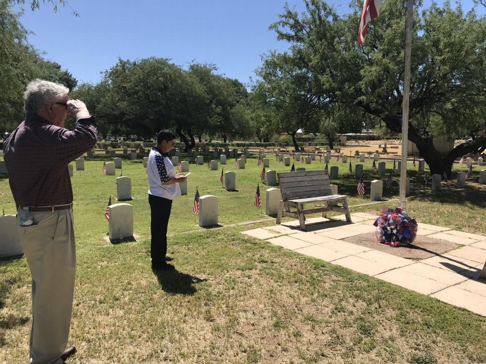 Exalted Ruler Matilda Lopez and Wayne Thompson at the 2020 Evergreen Veterans Cemetery Memorial Day wreath ceremony, Tucson AZ.