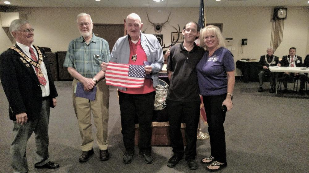 November 2018-new members with ER Joe, left to right Robert Clock (for Show Low Lodge), Kenneth Vandertie, Michael Young and his sponsor Laura.