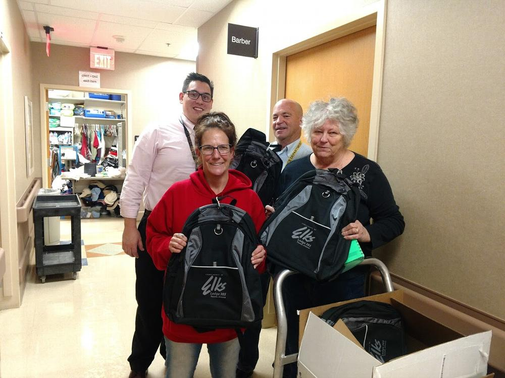 First Lady Diane (taking photo) and HC Chairman Teen dropped off 25 backpack to the Tucson VA homeless center last week. Pictured Teen and VA employees. They appreciate them so much.