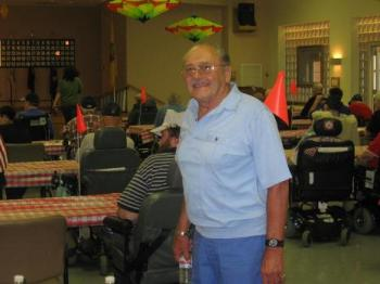 Veterans Committee Chairperson, George Cooper, hard at work. #580 Bingo Nite with the Veterans. 7/20/10