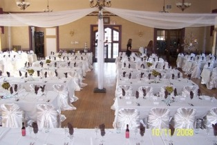 Hall decorated for a wedding.