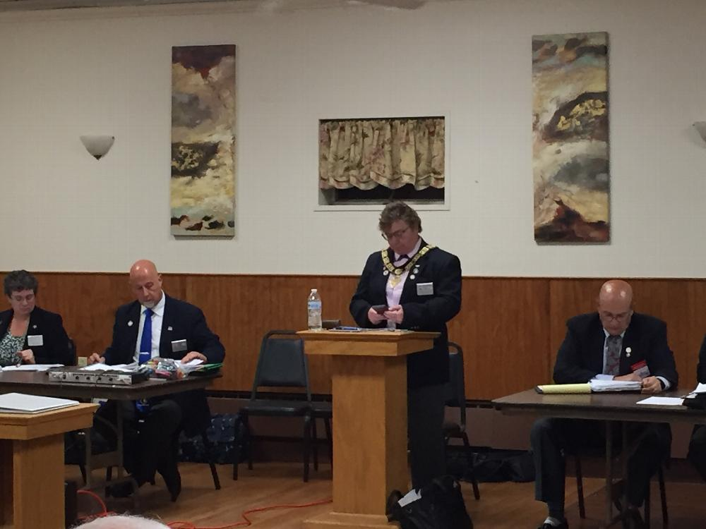 Elks State President Audrey Amryan at the state meeting held at the Westerly Elks in August 2017.  VP Tom Kramer of the westerly Elks to her right.