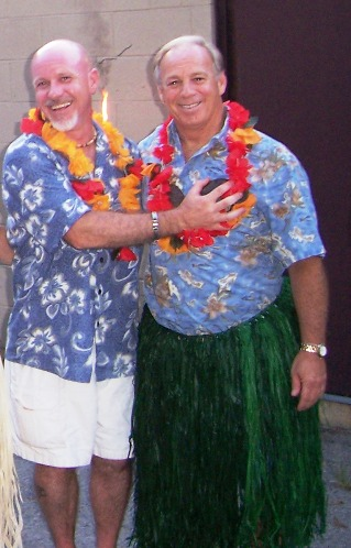 Exalted Ruler, Mic Severns and his Esteemed Leading Knight, Tom Nunes at the Luau.  More Photos in the News Section