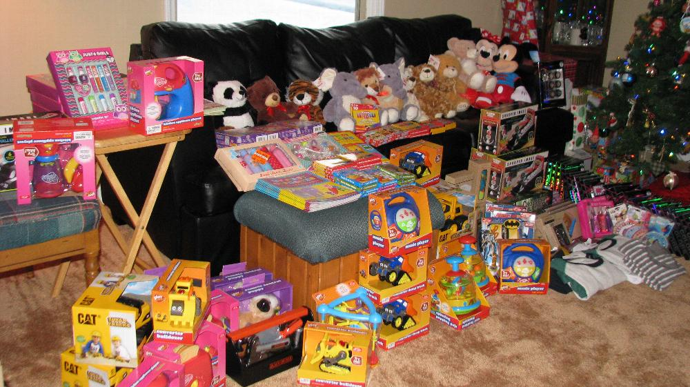 Christmas gifts for the children of families receiving Christmas Baskets.