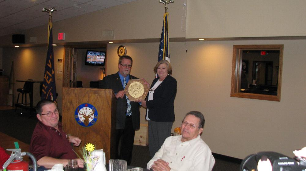 State President Rob Radig Sr. presents the State President's Plaque to Marilyn Gillies accepting on behalf of Lodge #693