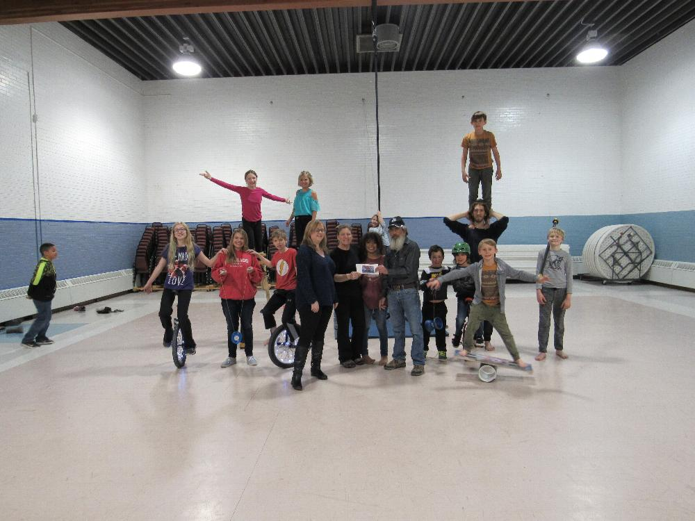 Salida Lodge 808 ER Jim DeLuca and Leading Knight Brandi Pugh delivering an Anniversary Grant donation to the Salida Circus class at Boys and Girls Club