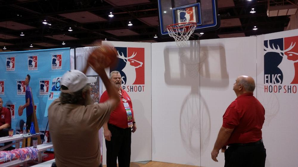 Hoop Shoot booth at Convention Center- ER Jim from Salida Lodge 808 shooter