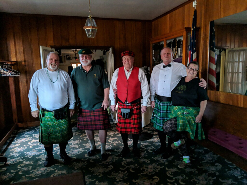 West Chester Elks St. Patricks Day Party had 5 Members wearing Kilts: Ken Hagerty, Tom Kelly, Tow Wallace, Bob Smith and Lynne Perez