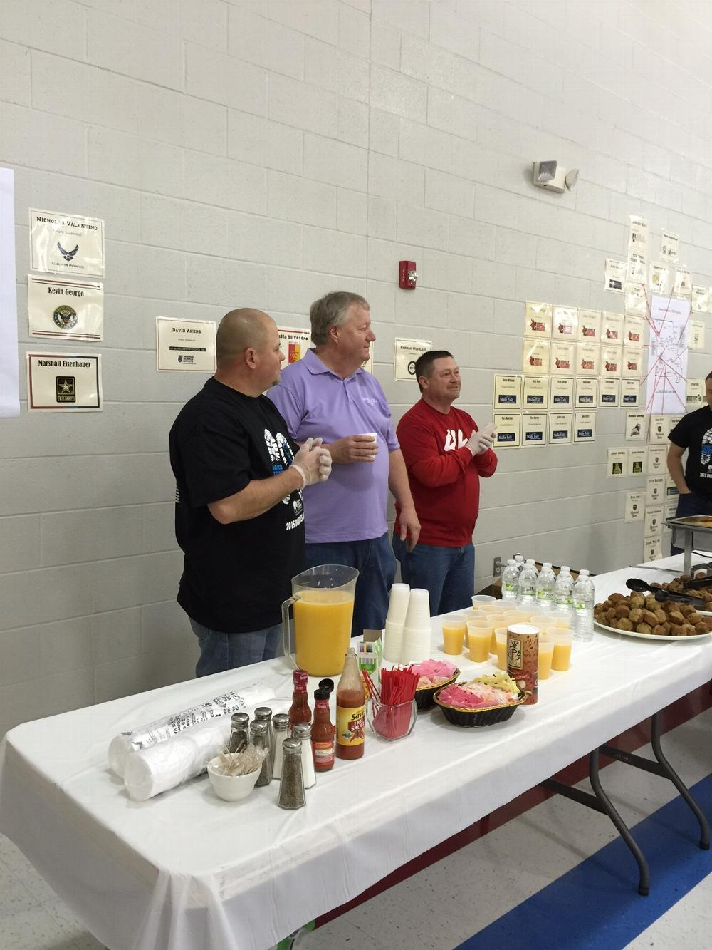 Diabetes Walk 2015, Clinton Elks served a free breakfast to all participants John McClendon, Steve Cummings, Bradley Clyde Combs