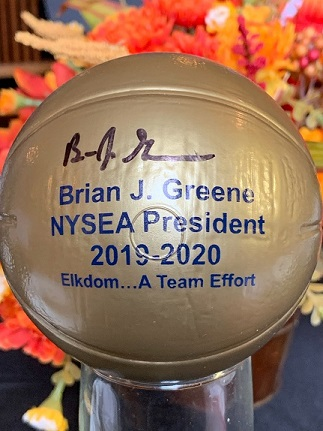 A signed memento of State President Brian Greene's visit to the Owego Lodge