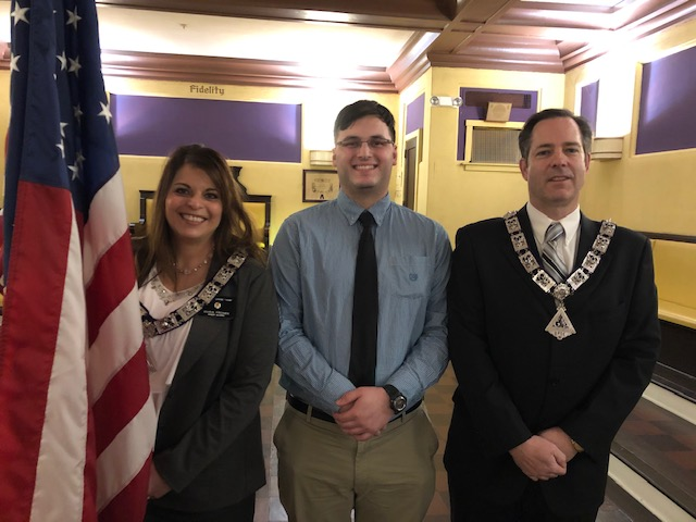 Inner Guard Maria Fronek with her son and newly initiated member, Anthony Fronek, and Lecturing Knight/Anthony's sponsor, Patrick Carey