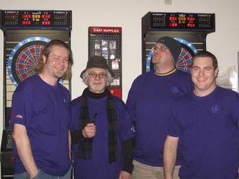 The 2006 Elks Dart Team. From left to right - Eric (Dinger), Steve (The Professor), Keith (Dutchess) and Pat (Heffernan). They ranked dead center as their first year on Fun Time Darts!