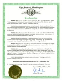 A proclamation recognizing the Elks 150th Anniversary by the Washington State Governor.
