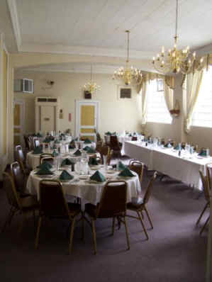 A great shot of the white dining room in the main Lodge building.