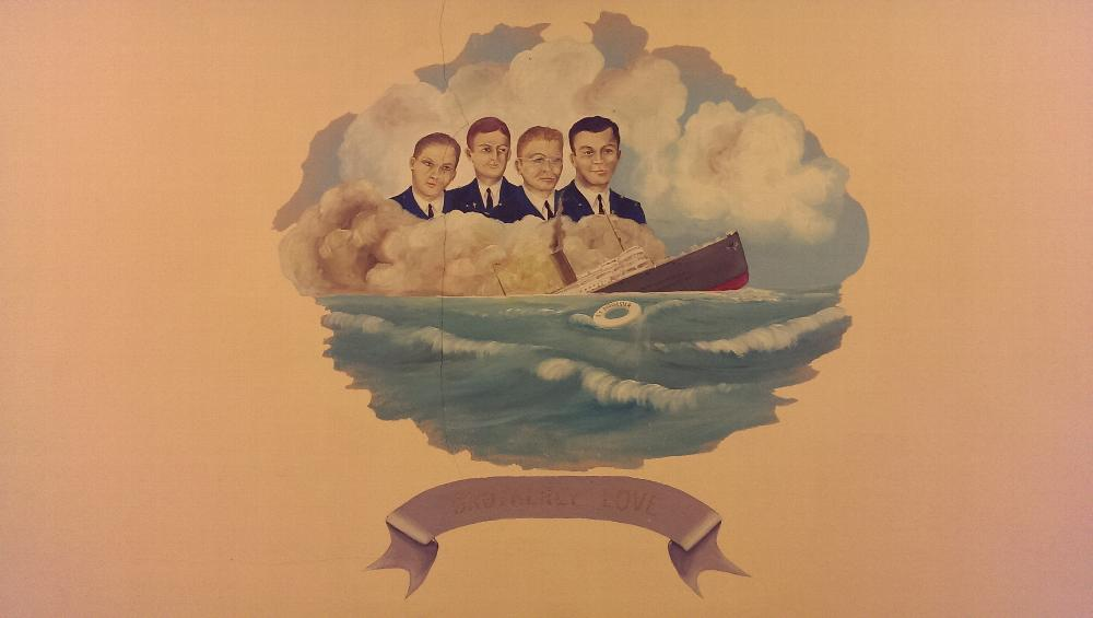 """Artwork above the Station of the Esteemed Lecturing Knight - The SS Dorchester and the """"Four Chaplains"""""""
