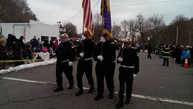 Boonton's Award Winning Honor Guard keeping it in step (and FREEZING) at the Fireman's Parade
