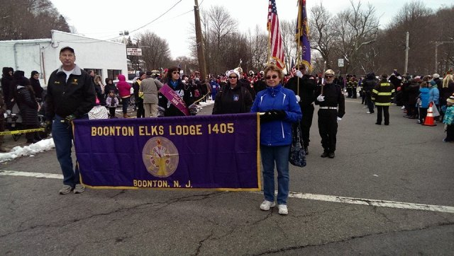 Cathy and Randy Schemp leading the Boonton Elks at the Fireman's Christmas Parade (have we mentioned it was very cold, brrrrr)
